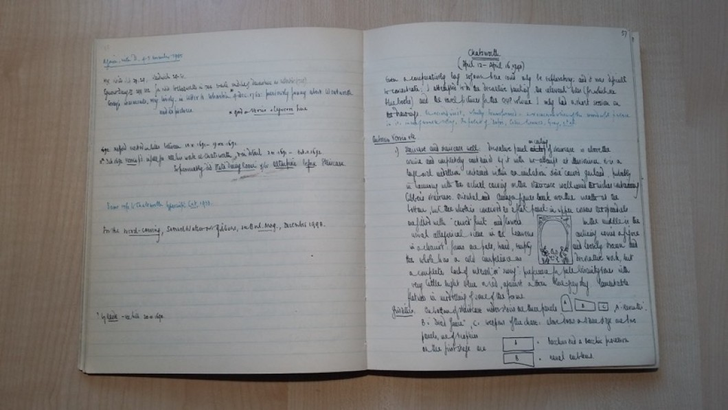 Notebook opened showing two pages of handwritten notes